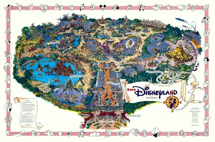 1992 Euro Disneyland Souvenir Map, by Sam McKim
