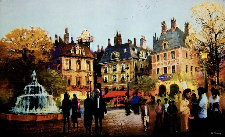 Ratatouille attraction – Exterior & Parisian Plaza concept art