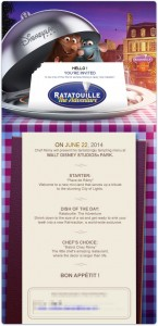 Invitation to the Disneyland Paris Ratatouille Preview Event