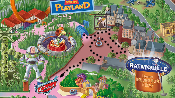 Walt Disney Studios Park map of Ratatouille land