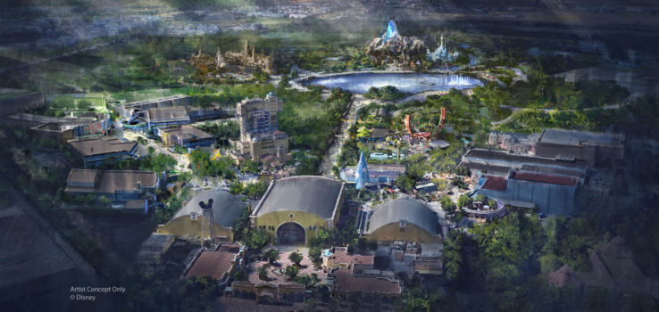 Concept Art of Disneyland Paris STAR WARS land, FROZEN land and MARVEL land expansion