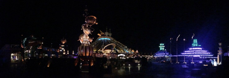 Panorama of Disneyland Paris Discoveryland at night